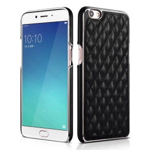 XOOMZ Grid Pattern Leather Coated Plated PC Mobile Phone Casing for OPPO R9s - Black