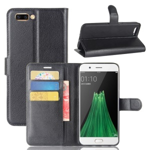 Lychee Skin Wallet Leather Stand Case for OPPO R11 Plus - Black