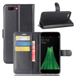 For OPPO R11 Litchi Skin Wallet Leather Stand Mobile Casing - Black