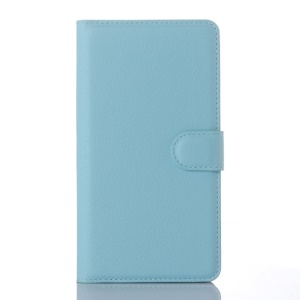 Litchi Grain Wallet Leather Cover for Microsoft Lumia 950 XL with Stand - Blue
