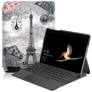 Pattern Printing PU Leather Tablet Cover with Stand for Microsoft Surface Go - Eiffel Tower