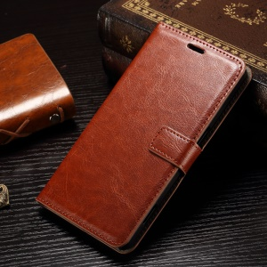 Crazy Horse Leather Phone Cover with Wallet Stand for Microsoft Lumia 950 XL - Brown