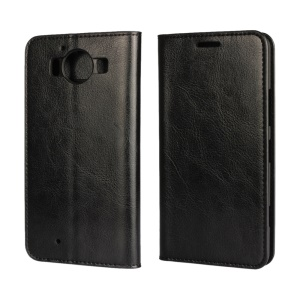 Genuine Leather Crazy Horse Wallet Stand Case for Microsoft Lumia 950 - Black