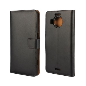 Genuine Split Leather Wallet Case for Microsoft Lumia 950 XL with Stand - Black
