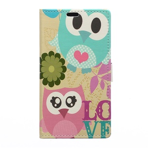 Wallet Leather Flip Case for Microsoft Lumia 550 with Stand - Owl Couple