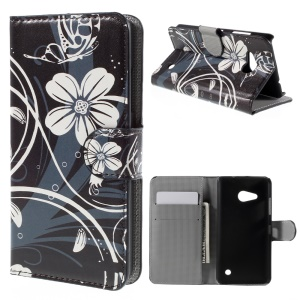 Flip PU Leather Stand Wallet Cover for Microsoft Lumia 550 - White Flowers