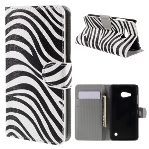 Flip PU Leather Stand Wallet Shell for Microsoft Lumia 550 - Zebra Stripes