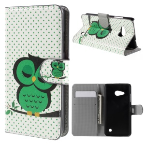 Diary Style Wallet Stand Leather Cover for Microsoft Lumia 550 - Green Napping Owl