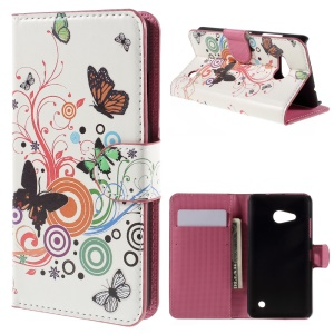 PU Leather Cover Case with Card Holder Stand for Microsoft Lumia 550 - Butterflies and Circles