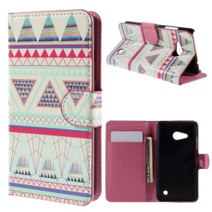 Wallet Stand Leather Protective Case for Microsoft Lumia 550 - Triangles Pattern