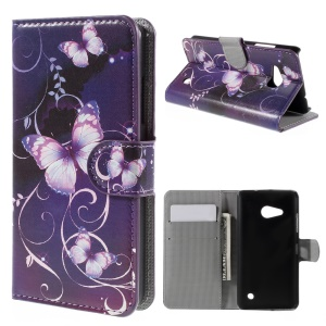 Wallet Stand Leather Protective Cover Shell for Microsoft Lumia 550 - Purple Butterflies