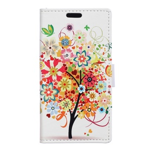 Magnetic Stand Leather Wallet Case for Microsoft Lumia 550 - Colorful Flower Tree