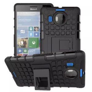 Hybrid PC + TPU Kickstand Phone Case for Microsoft Lumia 950 XL - Black