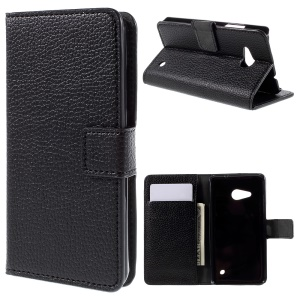 Card Holder Wallet Leather Stand Case for Microsoft Lumia 550 Litchi Texture - Black