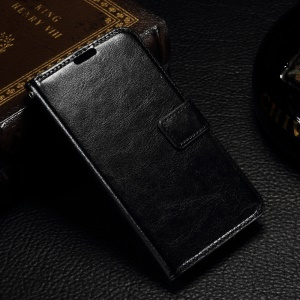 Crazy Horse Wallet Leather Stand Case for Microsoft Lumia 550 - Black