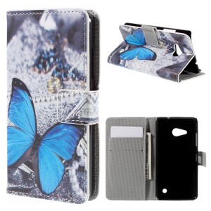 Wallet Stand Protective PU Leather Cover Case for Microsoft Lumia 550 - Blue Butterfly