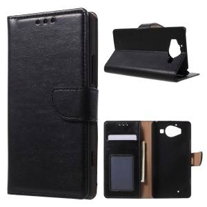 Leather Wallet Case Cover for Microsoft Lumia 950 with Stand - Black