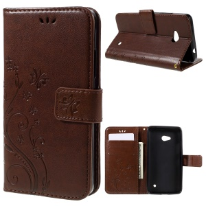 Butterfly Leather Wallet Shell for Microsoft Lumia 640 LTE / Dual Sim - Brown