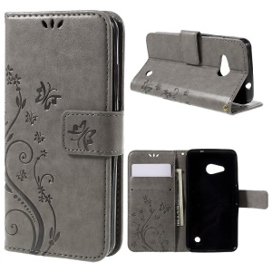 Butterfly Leather Stand Cover for Microsoft Lumia 550 - Grey