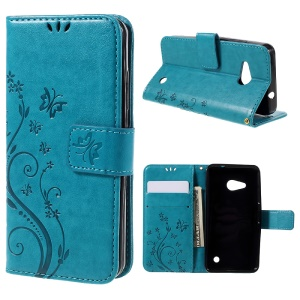 Butterfly Leather Card Holder Case for Microsoft Lumia 550 - Blue