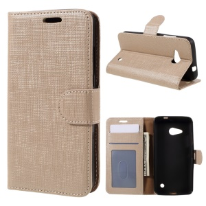 Cloth Texture Phone Leather Wallet Case for Microsoft Lumia 550 - Champagne