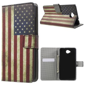 Wallet Leather Case for Microsoft Lumia 650 with Stand - Retro US Flag