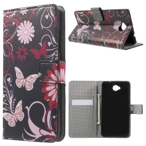Wallet Leather Case for Microsoft Lumia 650 with Stand - Butterfly and Flower
