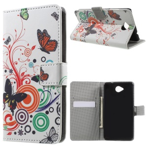 Wallet Leather Case for Microsoft Lumia 650 with Stand - Butterfly and Circle
