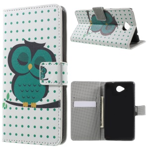 Wallet Leather Stand Cover for Microsoft Lumia 650 - Dozing Owl