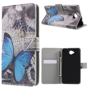 Wallet Leather Case for Microsoft Lumia 650 with Stand - Blue Butterfly