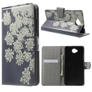 Wallet Leather Stand Cover for Microsoft Lumia 650 / Dual - White Flowers
