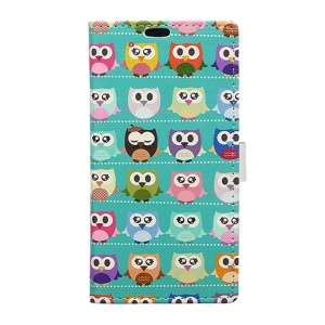 Wallet Leather Stand Case for Microsoft Lumia 650 - Mini Owls Cyan Background