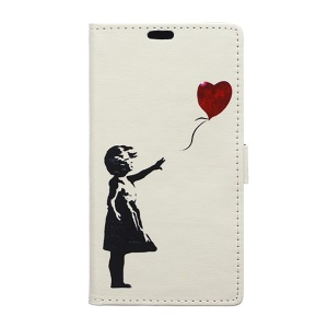 Wallet Leather Stand Case for Microsoft Lumia 650 - Girl Flying Balloon