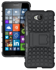 Anti-slip PC + TPU Kickstand Phone Case for Microsoft Lumia 650 / Dual - Black