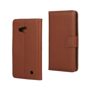 Flip Genuine Leather Wallet Magnetic Case for Microsoft Lumia 550 - Brown
