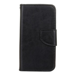 Crazy Horse Leather Wallet Case for Microsoft Lumia 550 - Black