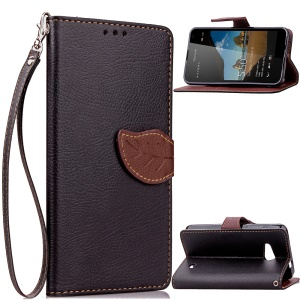 Leaf Shape Magnetic Flap Leather Stand Case for Microsoft Lumia 550 - Black
