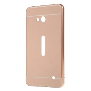 Sliding Metal Frame Plastic Case Shell for Microsoft Lumia 640 Dual Sim / 640 LTE Dual - Rose Gold