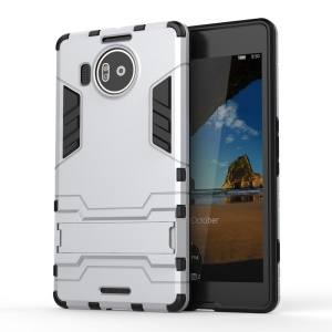 Solid PC + TPU Hybrid Case with Kickstand for Microsoft Lumia 950 XL - Silver