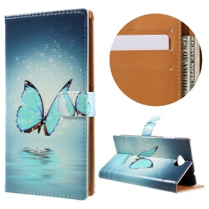 Wallet Leather Cover for Microsoft Lumia 650 / Dual SIM - Blue Butterfly on the Water