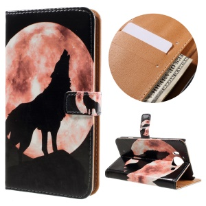Flip Wallet Stand Leather Case for Microsoft Lumia 950 - Wolf and Moon