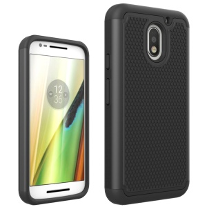 Football Grain PC + Silicone Back Hybrid Case for Motorola Mote E3 - Black
