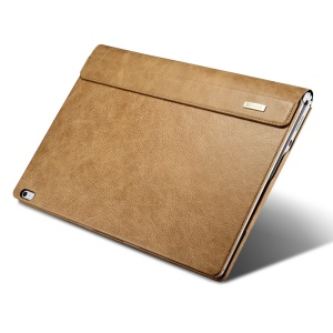 ICARER for Microsoft Surface Book Deluxe Genuine Leather Protective Case Litchi-like Texture - Khaki