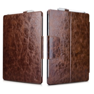 ICARER Oil Wax Genuine Leather Cover Case Stand for Microsoft Surface Pro 4 - Coffee