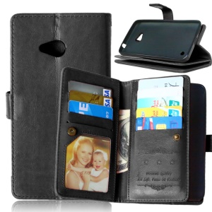 For Microsoft Lumia 640 Dual Sim / 640 LTE Dual Crazy Horse 9 Card Slots Leather Wallet Case - Black