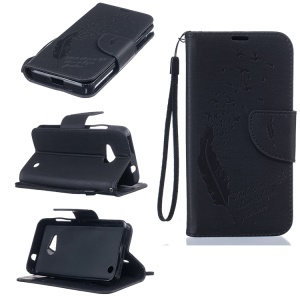 Imprint Feather Pattern Leather Wallet Case for Microsoft Lumia 550 - Black
