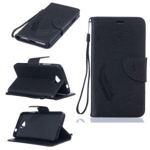 Imprint Feather Pattern Leather Wallet Case for Microsoft Lumia 650 / Dual SIM - Black