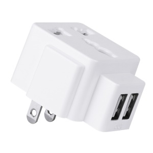 HOCO C7 CN Standard Plug to Universal AC Adapter Convert with Dual USB Port - White