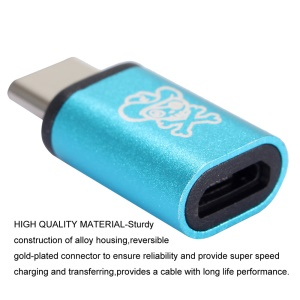 HAT PRINCE HC-1 Aluminum Alloy Micro USB Female to USB Type-C Male Converter Adapter - Blue