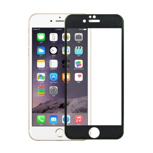Para iPhone 6 6s Glitter Powder 3D Curved Edge Fibra de carbono Tempered Glass Screen Guard 0.3mm Cobertura total - negro